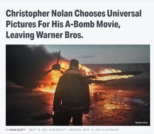 诺兰新片改与环球合作 预计明年第一季度开拍