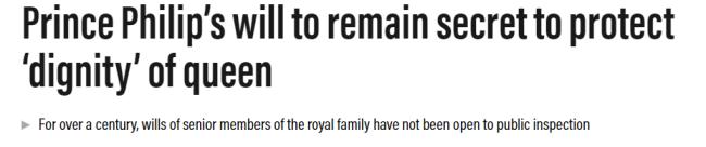 菲利普亲王遗嘱将在90年内保密 以维护女王尊严