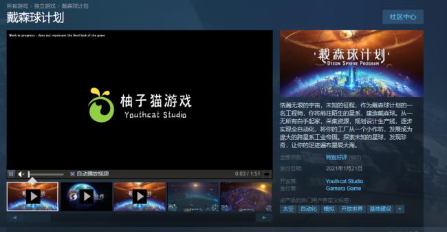 《戴森球计划》Steam抢鲜版 好评率为94%