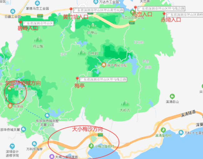 深圳马峦山郊野公园一共有几个入口?(附推荐入口)
