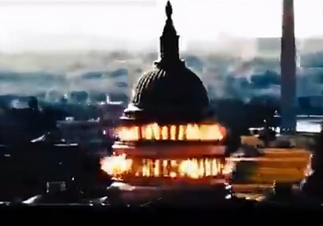伊朗发布美国国会大厦被该国导弹炸成火海视频