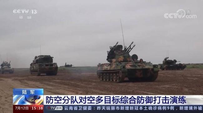 72集团军防空部队演练对空多目标综合防御打击