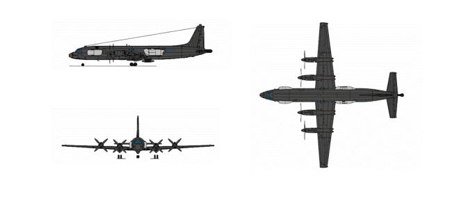 伊尔-22PP电子战飞机三视图