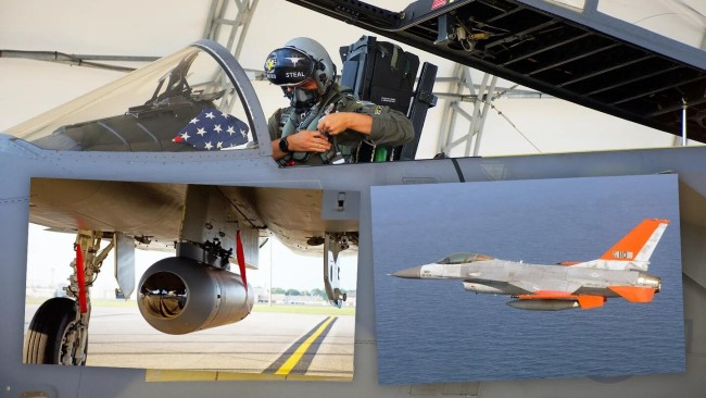 "F-15战斗机挂载的""军团""吊舱(左下)和QF-16无人靶机(右下)"