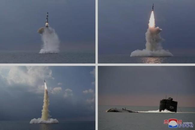 朝鲜试射潜射弹道导弹 画面曝光