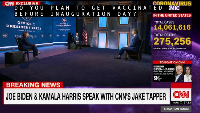 拜登和哈里斯接受CNN专访。/CNN视频截图