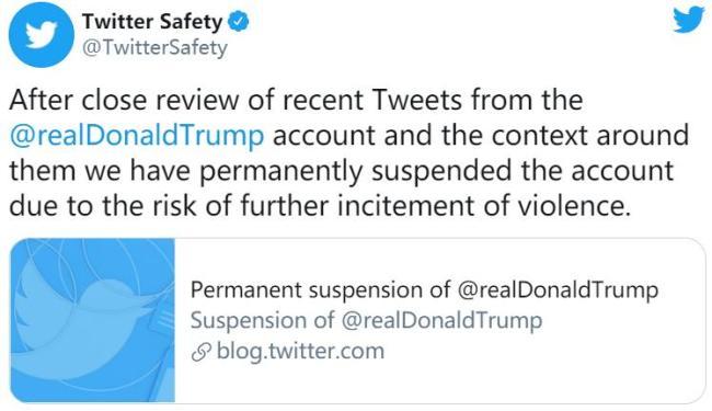 美国社交网站推特宣布永久移除特朗普个人账号