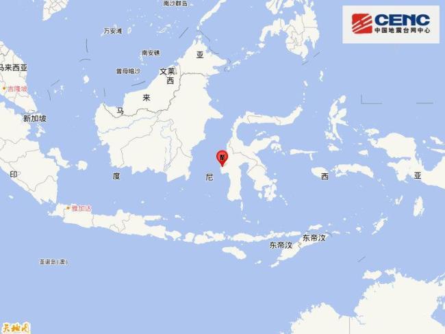 印尼苏拉威西岛发生6.2级地震 震源深度10千米