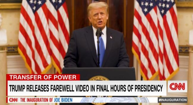 特朗普发表告别演讲祝新政府成功,拒绝提及拜登名字