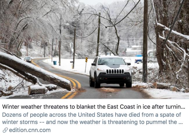 糟糕的天气仍在袭击得克萨斯州,并逐渐向东海岸蔓延。/ CNN报道截图