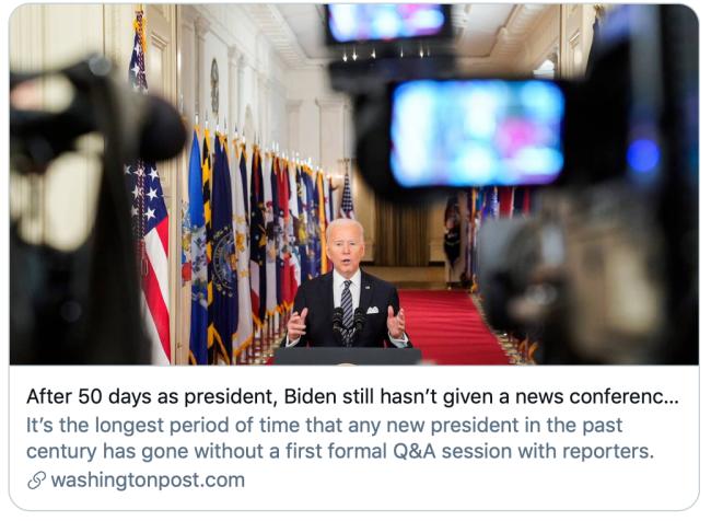 上台50多天还不开记者会,拜登咋了?