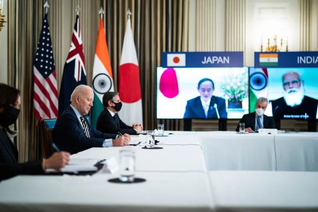 """2021年3月12日,美国、日本、印度、澳大利亚举行首次""""四边机制""""领导人视频峰会。"""