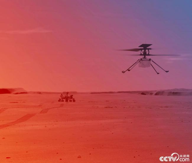 """""""毅力号""""火星车传回火星直升机登陆画面"""