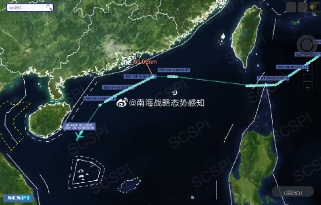 美空军RC-135W正沿广东和海南岛海岸进行抵近侦察