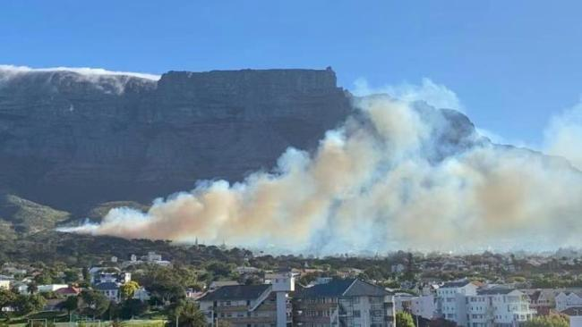 南非桌山突发山火 开普敦大学教职工已全部撤离