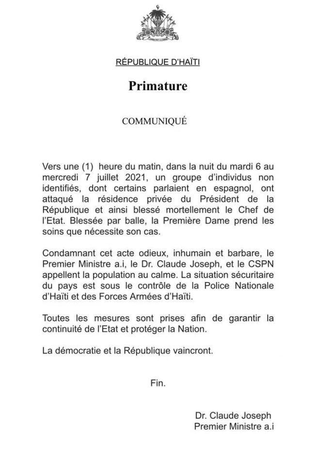 海地总理发公告:总统莫伊兹遇刺身亡
