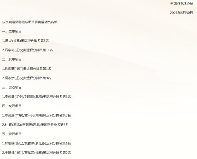 国羽东京奥运会名单