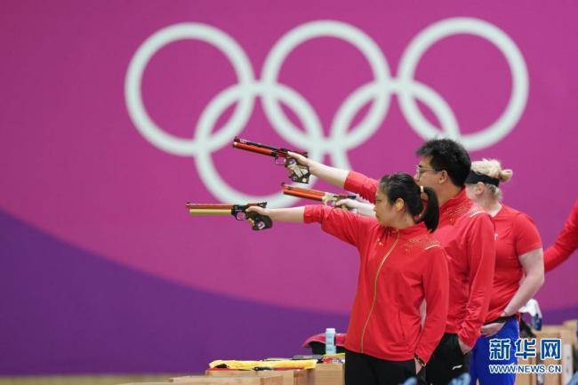 姜冉馨庞伟夺得射击10米气手枪混合团体金牌