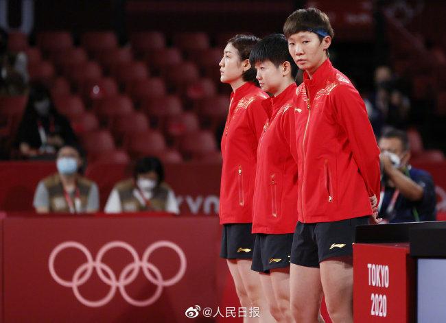 国乒女团3比0横扫日本!夺得第34金