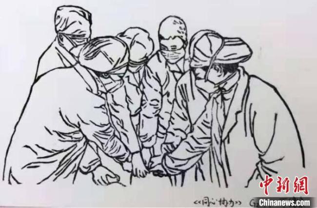 高中学生深受感动,画下了抗疫中的温暖一幕。 被采访者戴丙轩供图