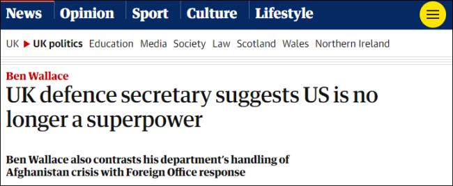 英防相暗讽:美国不再是超级大国,只是个大国而已