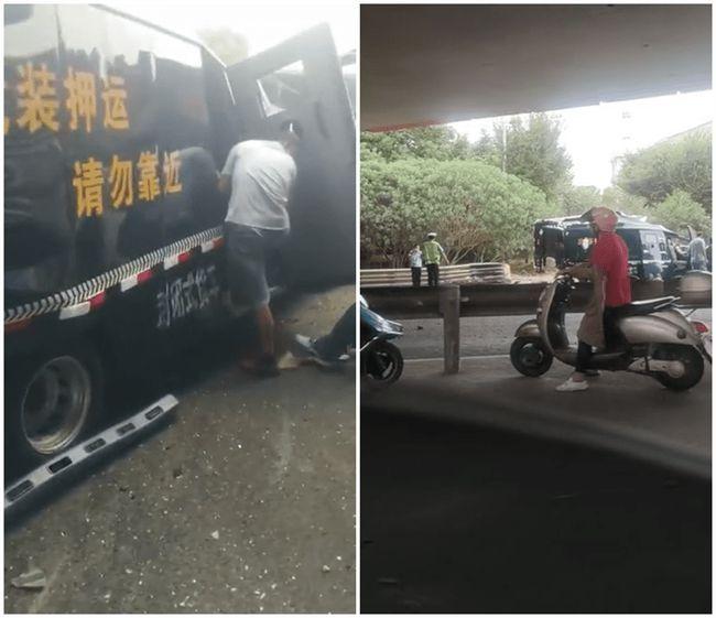 江苏一运钞车与货车相撞致2死4伤 钞票洒落一地