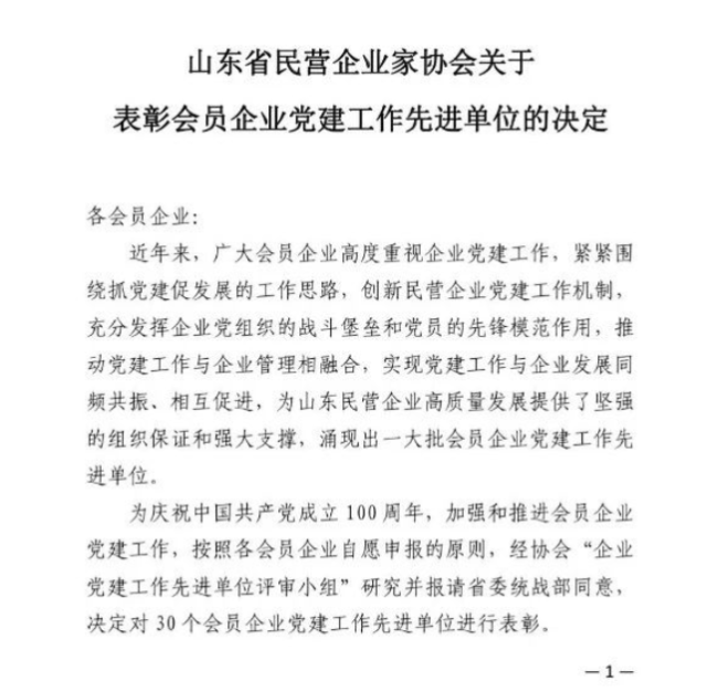 """沃尔德集团党支部荣获""""企业党建工作先进单位""""称号"""