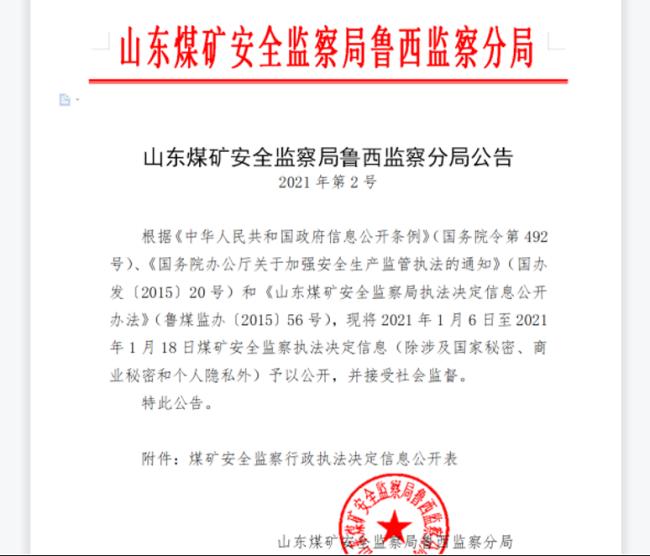 3家煤矿因违法违规生产被罚,均隶属山东能源集团