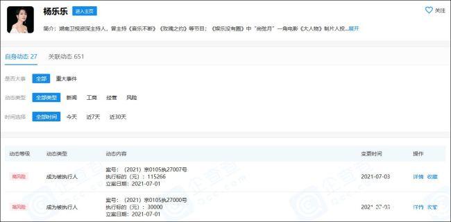 """知名主持人杨乐乐被""""强制执行"""",涉案金额为145266元"""