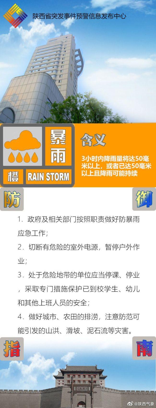陕西发布暴雨橙色预警