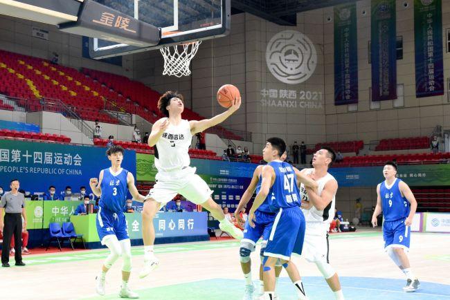 十四运会篮球男子五人制U22组比赛第二日,A组第1场比赛陕西队胜出