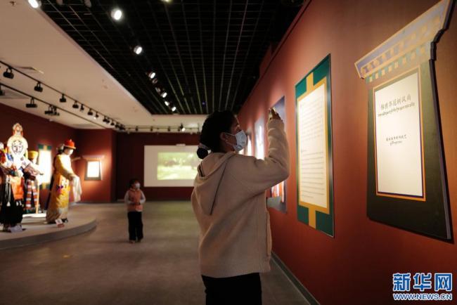 4月3日,市民在拉萨市非物质文化遗产代表性项目展上观展拍照。新华社记者 孙瑞博 摄