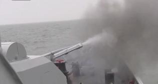 海军黄石舰实弹射击画面